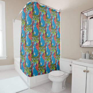 Tropischer hawaiischer blauer Häschen-Duschvorhang Duschvorhang