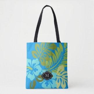 Tropischer hawaiischer Hibiskusmonogrammmit Tasche