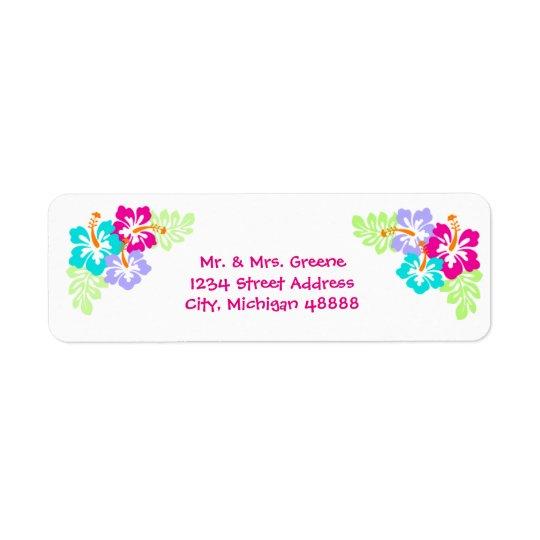 Tropischer Hibiskus - Adressen-Etikett
