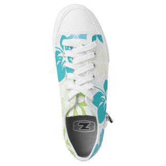 Tropischer Hibiskus hawaiische Luau Blumenschuhe Niedrig-geschnittene Sneaker