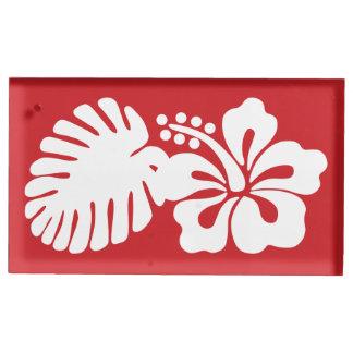 Tropischer Hibiskus im Kirschtabellen-Karten-Stand