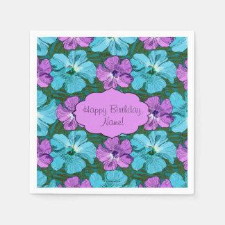 Tropischer Hibiskus-Türkis und lila Papierserviette