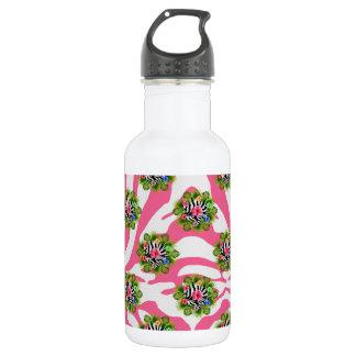 Tropischer Hibiskus und exotische rosa Edelstahlflasche