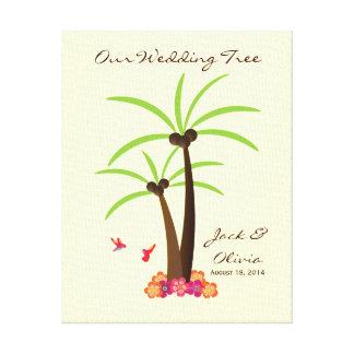 Tropischer Hochzeits-Palme Thumbprint Guestbook Leinwand Drucke