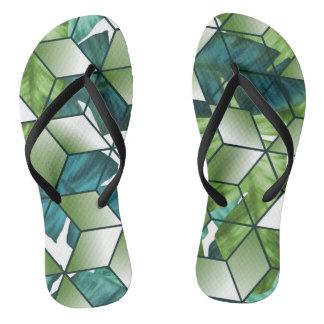 Tropischer Kubikeffekt-Bananen-Blätter-Entwurf Flip Flops