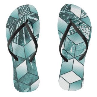 Tropischer Kubikeffekt-Palmblatt-Entwurf Flip Flops
