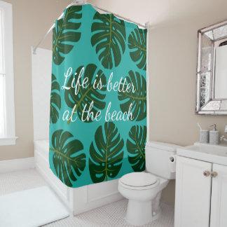 Tropischer Monstera Palmblattdruck-Duschvorhang Duschvorhang
