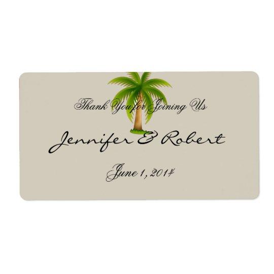 Tropischer Palme-Wasser-Flaschen-Aufkleber
