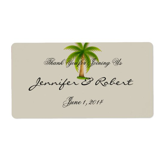 Tropischer Palme-Wasser-Flaschen-Aufkleber Versand Aufkleber