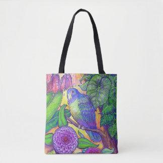 Tropischer Papagei und mit Blumen Tasche