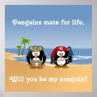 Tropischer Pinguin-Paare Hula Piraten-Insel-Strand Poster