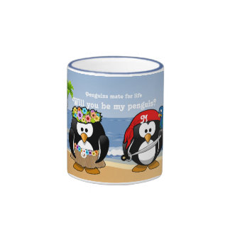 Tropischer Pinguin-Paare Hula Piraten-Insel-Strand Ringer Tasse