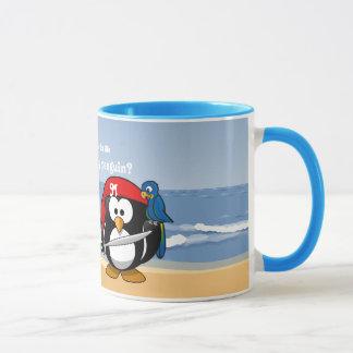 Tropischer Pinguin-Paare Hula Piraten-Insel-Strand Tasse