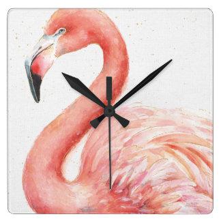 Tropischer | rosa Flamingo Quadratische Wanduhr