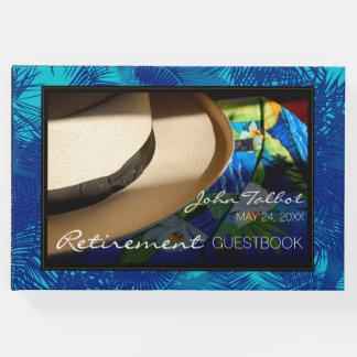 Tropischer Ruhestand mit blauem Palmen-Gast-Buch Gästebuch