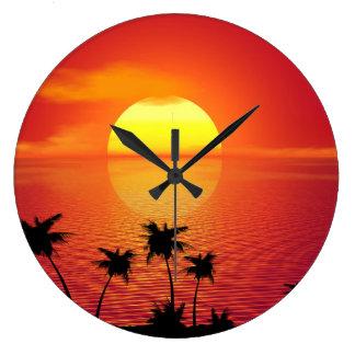 Tropischer Sonnenuntergang Große Wanduhr