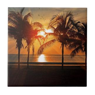 Tropischer Sonnenuntergang Keramikfliese