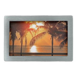 Tropischer Sonnenuntergang Rechteckige Gürtelschnalle