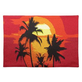 Tropischer Sonnenuntergang Stofftischset
