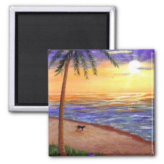 Tropischer Sonnenuntergang-Strand-Hund durch Quadratischer Magnet