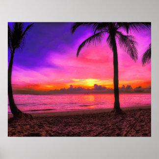 Tropischer Sonnenuntergang-Strand Poster