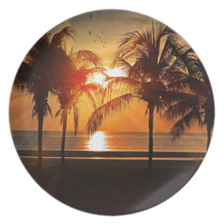 Tropischer Sonnenuntergang Teller