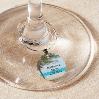 Tropischer Strand-Hochzeits-Wein-Charme Weinglas Anhänger