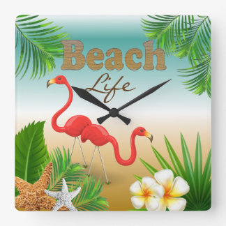 Tropischer Strand-Leben-Entwurf mit Flamingos Quadratische Wanduhr
