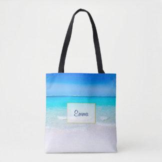 Tropischer Strand mit einem Türkis-Meer Tasche