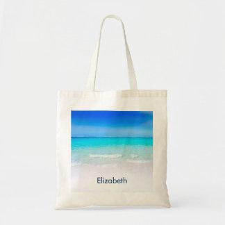 Tropischer Strand mit einer Türkis-Seegewohnheit Tragetasche