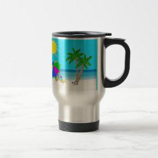 Tropischer Strand-personalisierte Edelstahl Thermotasse