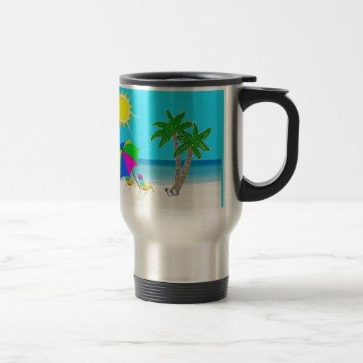 Tropischer Strand-personalisierte Kaffee-Reise-Tas Teetasse