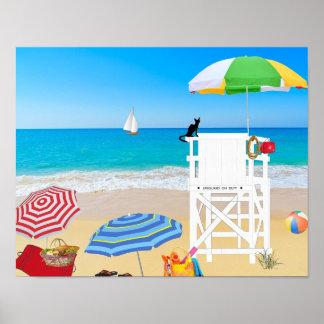 Tropischer Strand-Sand-Leibwächter-Turm Poster