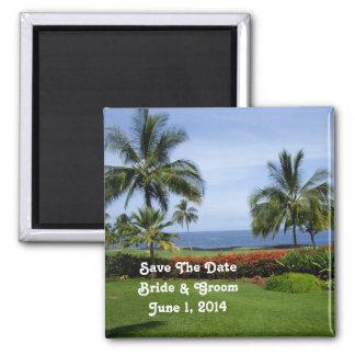 Tropischer Strand-Save the Date Magnet Quadratischer Magnet
