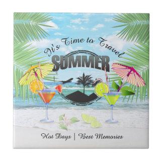 Tropischer Strand, Sommer-Ferien | personalisiert Keramikfliese