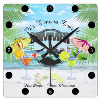 Tropischer Strand, Sommer-Ferien   personalisiert Quadratische Wanduhr