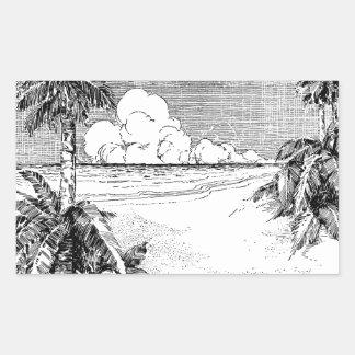 Tropischer Strand-Südwind-Vintager Rechteckiger Aufkleber