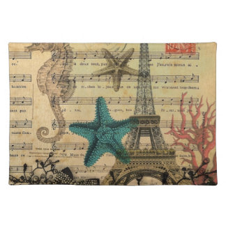 tropischer Turm Seepferd Seashellsparis Eiffel Tischset