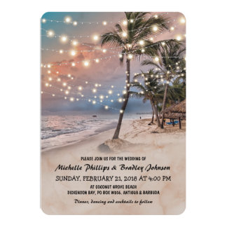 Tropischer Vintager Strand beleuchtet Hochzeit 12,7 X 17,8 Cm Einladungskarte