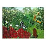 Tropischer Wald mit Affen Postkarte