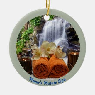 Tropischer Wasserfall-Kreis-orange Rundes Keramik Ornament