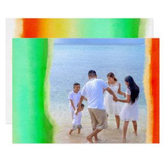 Tropischer Watercolor Stripes Foto-Weihnachten Karte