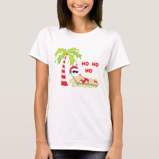 Tropischer Weihnachtsbaum-Flamingo-T - Shirt