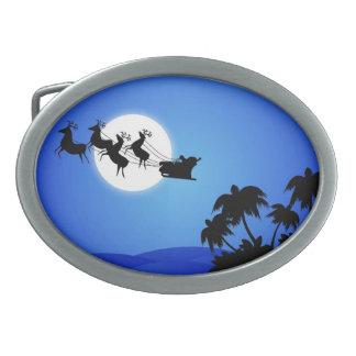 Tropischer Weihnachtsbaum Weihnachtsmanns Ovale Gürtelschnallen