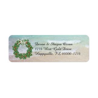 Tropischer WeihnachtsKranz-Ozean-dünne Adresse