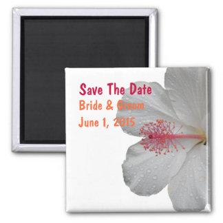 Tropischer weißer Hibiskus-Save the Date Magnet Quadratischer Magnet