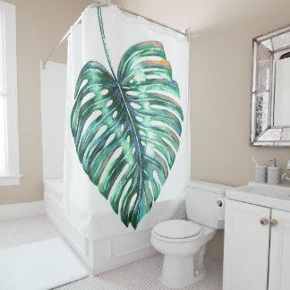 Tropisches Aquarell der Monstera Blatt-Palme Duschvorhang