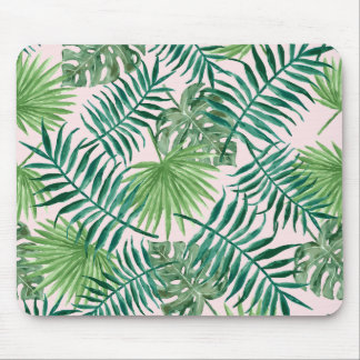 Tropical Watercolor Foliage on Blush Pink
