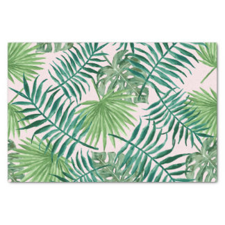 Tropical Watercolor Foliage Green on Pink