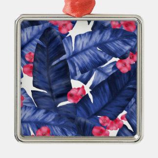 Tropisches Bananen-Blätter mit Blumen-Muster Silbernes Ornament